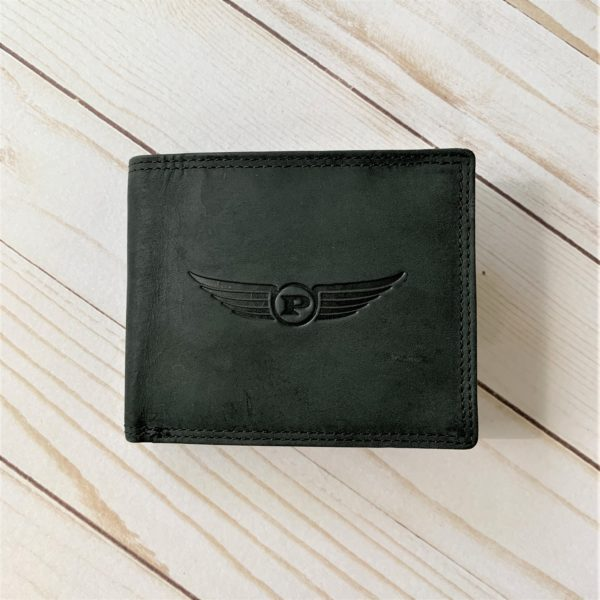 Luxury Black Aviator Wallet front with propeller logo