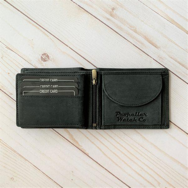 Black Aviator Wallet interior coin purse